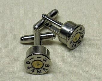 Bullet Cufflinks 44 Magnum Starline Nickel Wedding Cuff Links