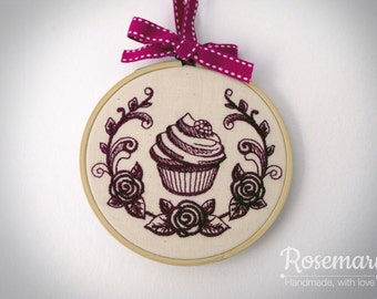 """Embroidered Cupcake with Laurel 4"""" or 5"""" Embroidery Hoop"""