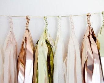 Ivory, Khaki, Copper & Gold Tassel Garland