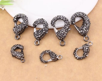10pcs Gun Black plated Crystal Rhinestone Paved Lobster Clasps Jewelry Findings in different Sizes