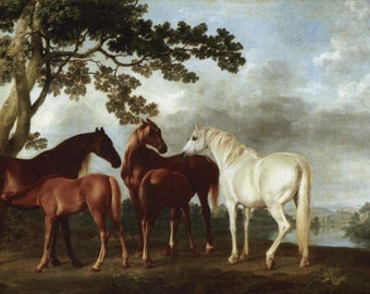 100% handpainted Horses by George Stubbs oil painting reproduction on canvas for home decor wall art