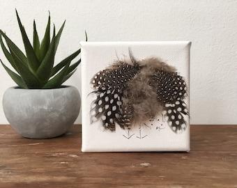"Bird art//Mini wrapped canvas//Peek-a-boo Bird//3""x3""// desk accessories"