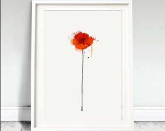 RED POPPY Watercolor Flower Nature Watercolor Art Print Wedding Gift Floral Wall Art Prints  Mother's day gifts floral painting (Nº2)