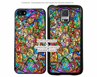 Disney World Stained Glass World of Characters For All Apple iPhone 7, 7 Plus, S8, S8 Plus, S7, S7 Edge, LG G6, G5, Google Pixel, Pixel Xl