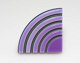 Triangle Purple And Rainbow Barrette
