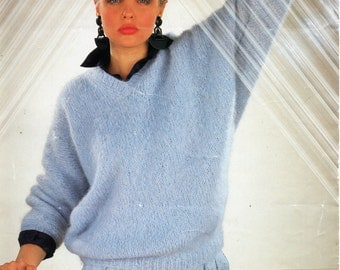 """ladies mohair sweater knitting pattern pdf womens dolman sweater batwing 32-40"""" mohair chunky bulky 12 ply pdf instant download"""