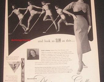 1952 Playtex Fab-Lined Girdles, Print Ad, New York Designer Tina Leser Inset Photo