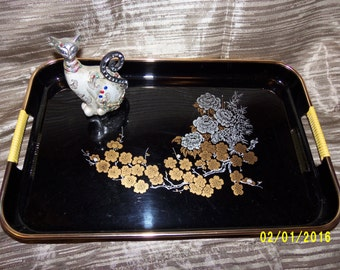 Vintage Asian Black Lacquer Gold and Silver Floral Serving Tray, Decorative Asian Beverage Tray