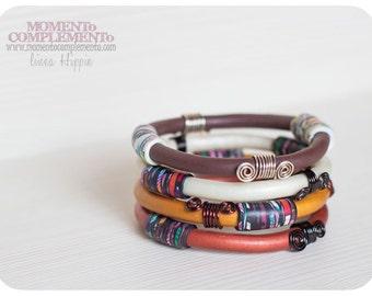 bangles bracelet autumnal colors polymer clay & metal brass nickel free elegant boho chic style