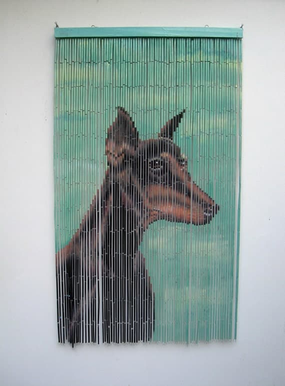 Sale doberman portrait hand painted bamboo bead curtain for Hand painted bamboo beaded curtains