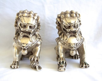 Chinese Silver Bronze Fu Foo Dogs