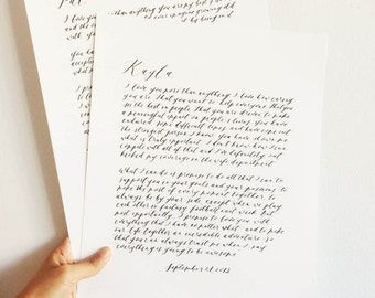 Custom Calligraphy Wedding Vow/Reading/Prayer - Anniversary or Wedding Gift - 11x14