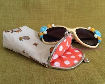 Woodland (Orange Floral Lining) - Sunglasses Reading Eyeglasses Metal Frame Clasp Fabric Accessories Case