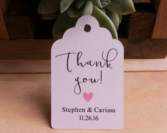 25 Wedding Favor Thank You Tags, Custom Wedding Favor Thank You Tags, Custom Thank You Wedding Tags