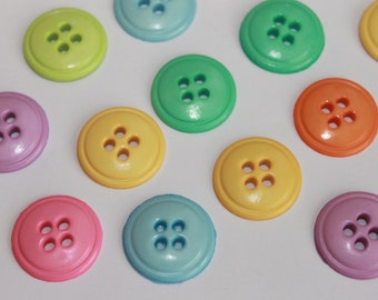 Very cute colorful round 4 hole pastel buttons, lot of 50, baby buttons, buttons for arts and crafts, flatbacks