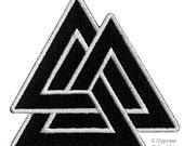 Black VALKNUT KNOT PATCH iron-on embroidered Odin Norse Mythology Pagan Symbol Emblem applique