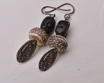 Boho lampwork and silver earrings with tektite - DayLilyStudio