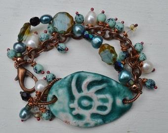 Boho multi-strand bracelet Pottery Girl - DayLilyStudio
