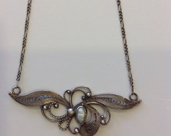 Vintage sterling silver pearl necklace floral filigree chain Art nouveau boho marked