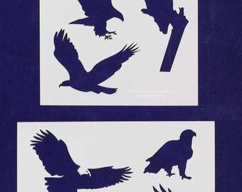 "American Bald Eagle  2 Pc  Set  8"" x 10"" - Stencil-  14 Mil Mylar"