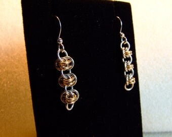 Sterling Silver and Gold Barrel weave Earrings