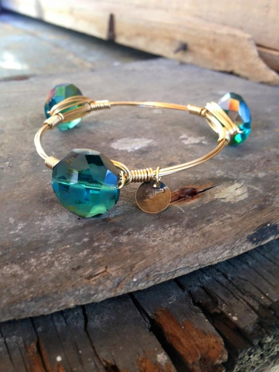 Teal  Crystal, Turquoise Bangles, Crystal, Jewelry, Stackable Bangles, Wire Wrap Bangles, Non-Tarnish Wire, Beautiful, Trendy,  Bracelets