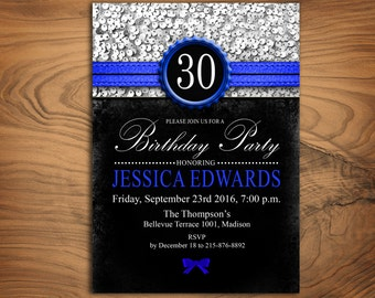 30th Birthday Party Invitation /Any Age / Royal Blue Glitter Silver Black / Digital Printable Invitation / Customized