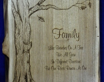 Wedding Gift For Couple ~ Gift For Parents ~ Family Tree Sign ~ Established Sign ~ Free Engraving Of Name ~ Live Edge Sign ~ Christmas Gifts