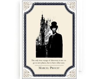 Marcel Proust Greeting Card, literary gifts, prints, Literary Quote, Blank Notecard, Blank Greeting Card, Notecard, James Clancy