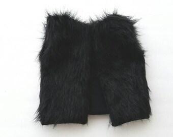 Design your own black faux fur vest, baby fur vest, child fur vest, child fur vest, black fur vest, furry vest, black fur vest