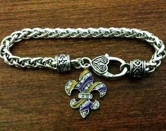 LSU charm Bracelet, crystal Fleur De lis  charm, purple and gold