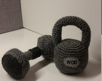 Reserved Kettlebell and Dumbbell set with onesie
