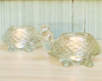 PAIR of vintage AVON TURTLE tealite holders/trinket dishes