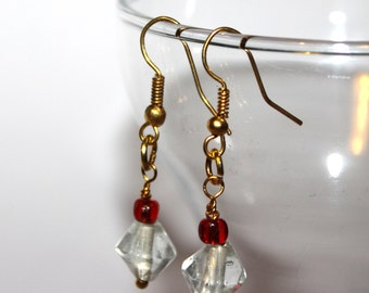 Bicone Beaded Earrings - Red/Clear - Comes with Gift Bag