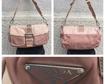 PRADA - 90s Prada Bag - Vintage Prada Baguette Bag - Powder Pink Prada Bag