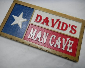 Man Cave Sign, Carved, Wood, Custom Designed, Room Signs, Personalized, Plaques, Recognition, Decorative, Permanent, Room Sign,