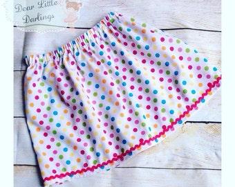 Girls Skirt, Elasticated Skirt, Spots Fabric Skirt, Polkadot Skirt