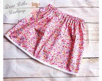Girls Skirt, Elasticated Waist, Floral Skirt