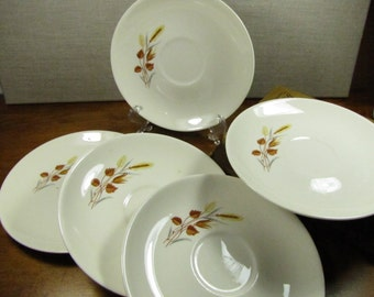 Vintage Wheat and Brown Leaf Pattern Saucers - Set of Five (5)