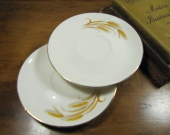 Golden Wheat Saucers - Made in USA - 22 K Gold Accent - Oven Proof - Set of Two (2)