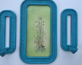 Set of three Vintage 1980's Faux Wicker frame with two candle holders. Rehabbed teal color.