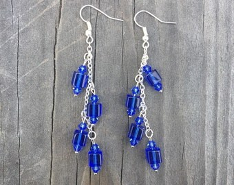 Blue and Silver Chain Earrings