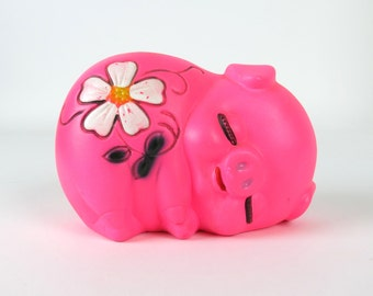 Chalkware Piggy Bank- Dayglow Neon Hot Pink with Daisy, Vintage 1960/70s