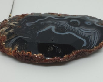 HUGE Black and White Agate Pendant