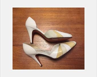 Vintage Lemon Yellow and Cream D'Orsay Heels // Size 6M