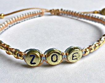 Personalized friendship name bracelet, beaded macrame, gold plated alphabet beads, adjustable closure, delicate simple, girlfriend gift