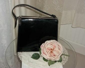 Vintage Leather Purse Handbag, Black Patented Leather Handbag, Black Clutch Purse