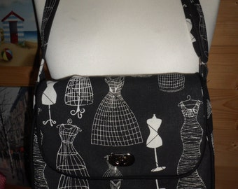 Handmade fully lined Black Mannequin Design Handbag/ Messenger Bag