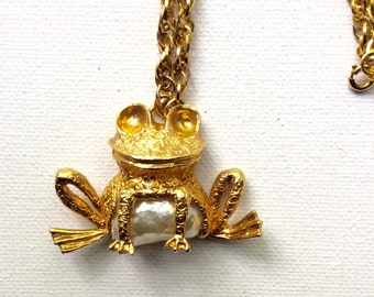 Retro Goldtone and Pearl Froggy Pendant