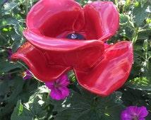 Red ceramic poppy